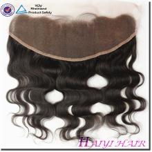 Fermeture frontale de lacet de cheveux droits de Vierge de cheveux droits de 13 * 4 avec le faisceau
