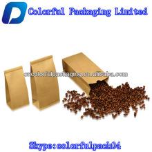 Saco de papel kraft marrom personalizado para o feijão de café