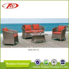 Sofá exterior, sofá de enrugada, sofá de vime (DH-175)
