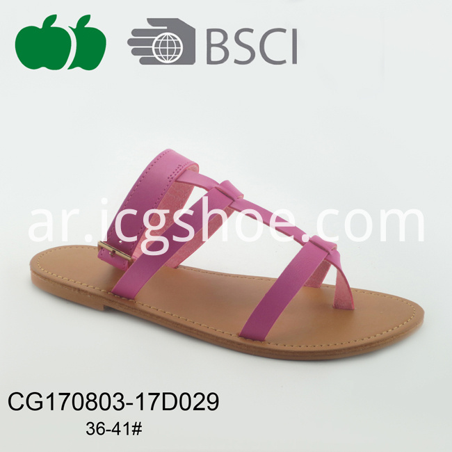 Lady New Fashion Outdoor Pu Flat Slipper
