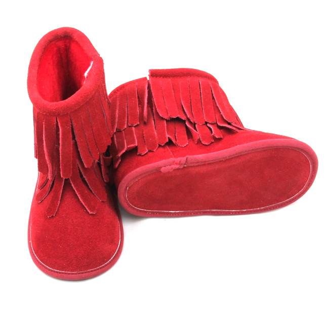 Red Baby Double Tassel Warm Soft Leather Boots
