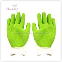 Gants enduits de sécurité de travail de polyester enduits de paume de latex de mousse de 13gauge / plongé