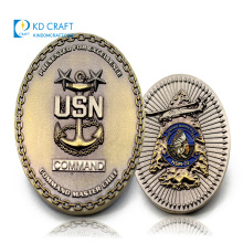 Wholesale no minimum custom anchor shaped stamping embossed logo usn navy chief souvenir metal challenge coin