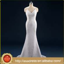 ASWY18 Real Photos Lace Spaghetti Strap Trumpet Wedding Bridal Gown Bride Dress