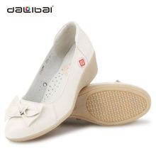 white leather mid heel soft lady medical safety shoes