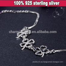 CYL006 925 joyería de plata, plata de la pulsera del trébol de cuatro hojas esterlina, regalos de la Navidad de la novia Flores pulsera de cadena