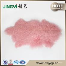 Belle Longue Cheveux mongol Tibet Agneau Fourrure de mouton plaque de peau Pinke