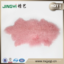 Beautiful Long Hair Mongolian Tibet Lamb Fur Sheep skin plate Pinke