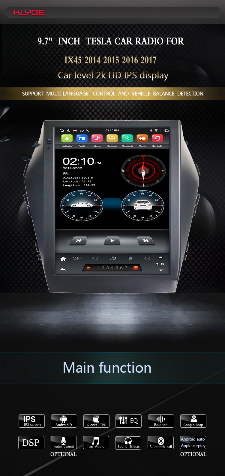 car audio player for Hyundai IX45 2015