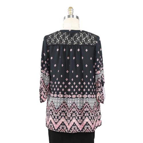 Frauen Border Print Lace Inserted Bluse