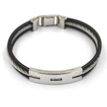 High Quality Customized Black Leather Stainless Fashion Bracelet