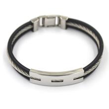 High Quality Customized Black Leather Stainless Fashion Bracelet