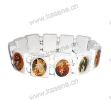 Wholesale White Religious Wood Bead with Saint Picture Rosary Bracelet