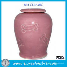 Pink Glazed Ceramic Bone Pet Urns