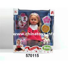 """Venta caliente de juguete de plástico 16 """"muñeca con gafas y mascotas (570115)"""