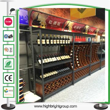 Casier à vin en bois de luxe de supermarché en métal