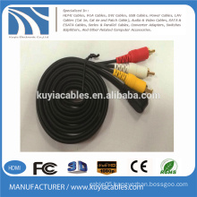 3.5mm plug stereo to 3 rca cable male to male right angle 1 to 3 audio video