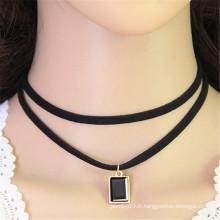 Ornement en coréen double cristal strass tissu noir collier choker