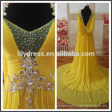 Yellow Chiffon Pleated Backless Beading Customized Prom Party Evening Dresses Vestidos PD032 real evening dress