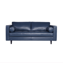 Popula Blue Leather Sven Sofa