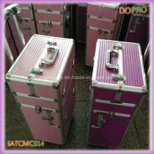 Dois em um rosa ABS profissional compõem caso de carrinho de artista (satccm014)