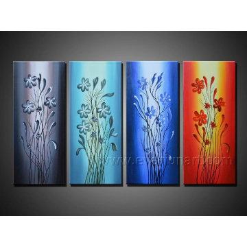 Pintura al óleo abstracta pintada a mano en la lona para la decoración