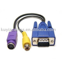 PC VGA vers RCA Splitter S-Video AV TV Adaptateur Câble convertisseur