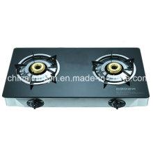 2 quemadores de cristal templado superior de acero inoxidable cocina de gas / estufa de gas