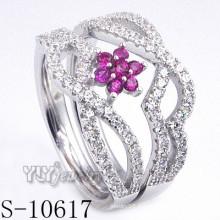 925 bague en argent sterling fleur zircone rose (S-10617)
