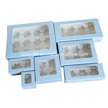 Take-out Paper Cupcake Box / Printed Cardboard Paper Cupcake Box with Insert and Clear Window