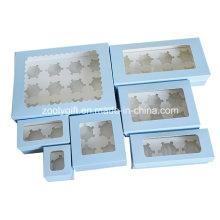 Выдвижной ящик с кексом для бумаги / Бумага для печатной картонной коробки с кексом с вставкой и прозрачным окном