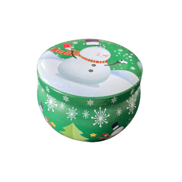 Christmas snowman gift candle for children decoration tin candles