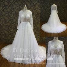 Langarm-Meerjungfrau-Spitze-Applique-nach Maß Hochzeits-Kleider