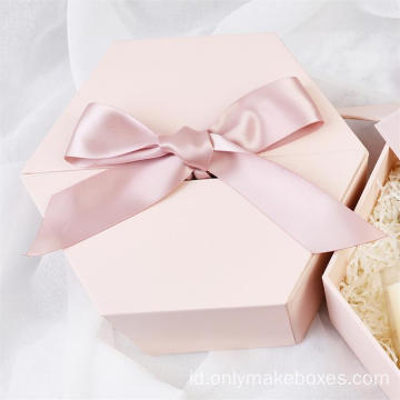 Hexagon Double Door Bridesmaid Gift Box dengan Pita