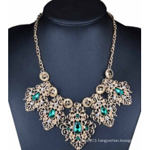 Blue Stone Drop Alloy Necklace (XJW13708)