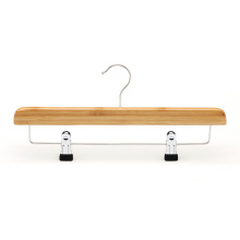 Natural bamboo pants towel scarf hangers with clips for supermarket retail