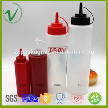 LDPE dropper cap cylinder empty squeeze plastic sauce bottle with food grade