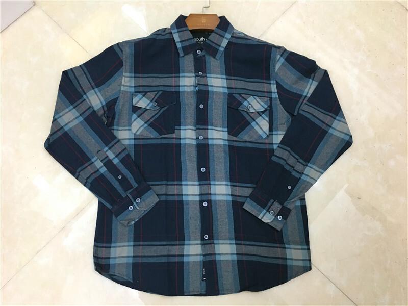 Men's 100% Cotton Long-Sleeved Plaid Shirt