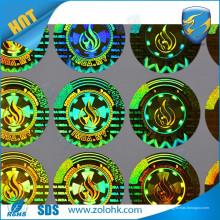 Qualität kundenspezifische holographische Aufkleber-Aufkleberdruckmaschine bilden runde Goldhologramme
