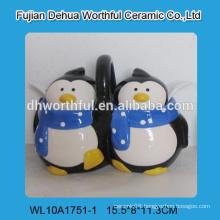 Novel double penguin shaped ceramic seasoning pot with spoons