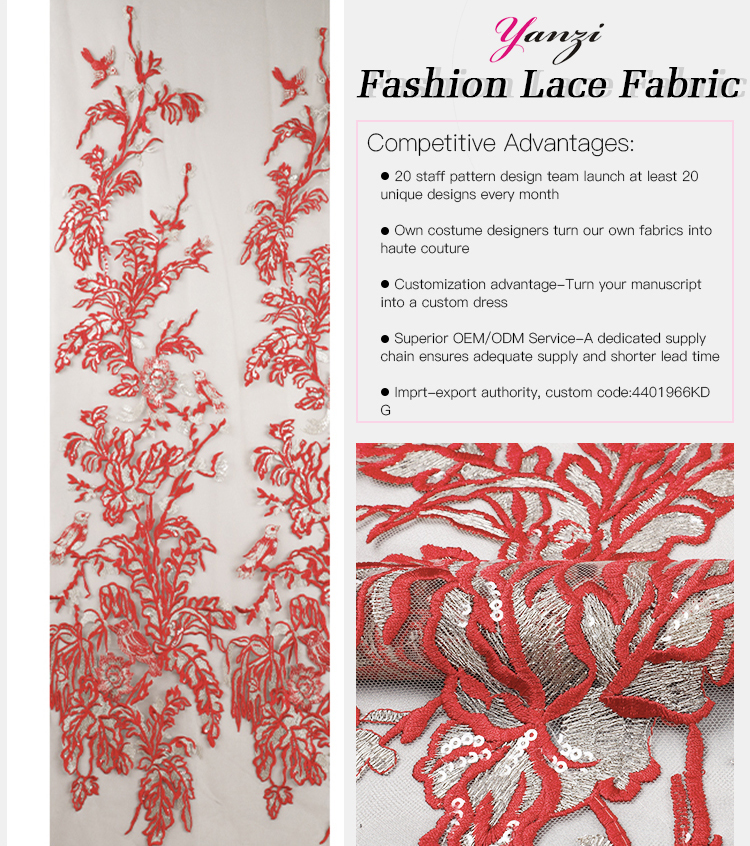falt embroidery lace fabri
