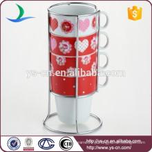 Venda por atacado 4pcs 210ml caneca de porcelana com suporte de ferro