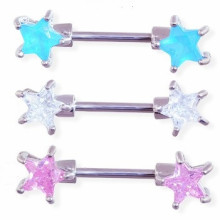 Straight Barbell with Gem Star Front-facing Ends