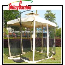 Hanging Offset Umbrella Outdoor Aluminum Personal Canopy Sun Shade with Mesh Patio Tilt Post Gazebo