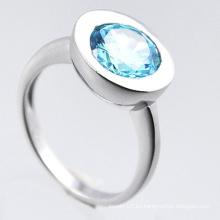 Anillo de plata esterlina de la joyería 925 de la moda con Zirconia azul
