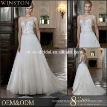 high-quality beads strap A-line see-through wedding dress real picture