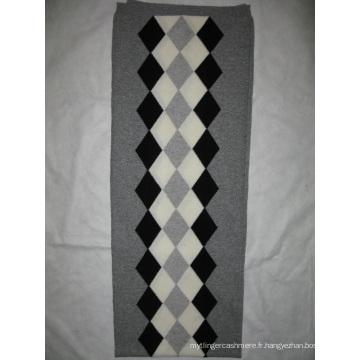 100% cachemire Intasia écharpe gris combiné