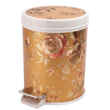 Fashion Design Leather Covered Foot Pedal Waste Bin