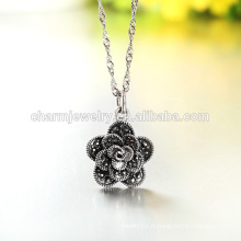 Beautiful Flower 2016 Lastest Fashion Silver Necklace Style Vente chaude dans Western Design for Girl SCR004