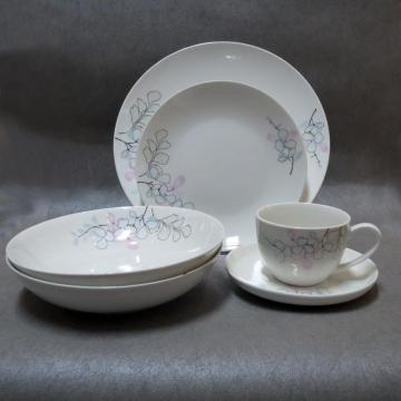 Round Ceramics Coloured Pattern Dinnerset